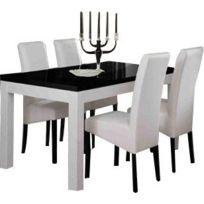 Table salle manger noir blanc - Achat Table salle manger ...