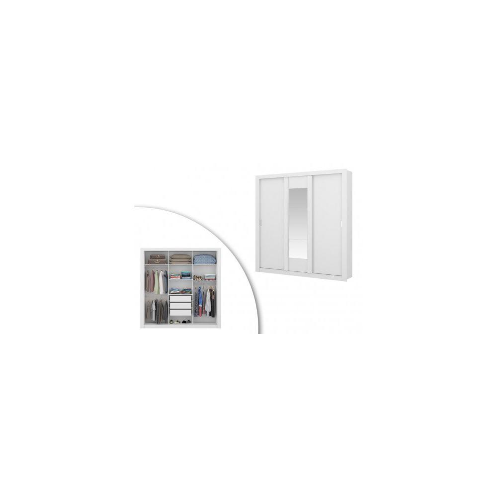 Vente-Unique Armoire avec miroir ROXANE - 3 portes coulissantes - L. 220 cm - Blanc
