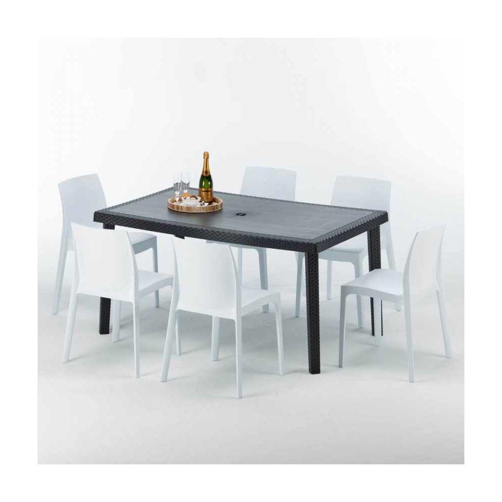 Grand Soleil Table rectangulaire et 6 chaises Poly rotin colorées 150x90cm noir Enjoy, Chaises Modèle: Rome Blanc