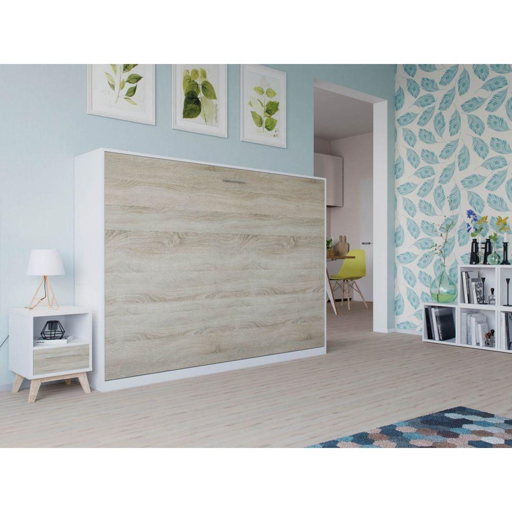 Smartbett Lit Escamotable Basic 140x200 Horizontal Blanc Chene Sonoma Avec Ressorts A Gaz Armoire Lit Cadres De Lit Rue Du Commerce