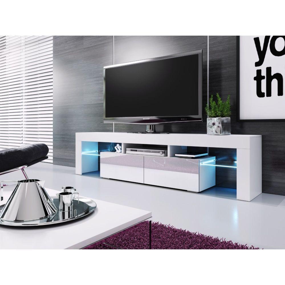 Baltic Meubles MEUBLE BANC TV BLANC LAQUE - 1M90 - LEDS FOURNIES - MOINSCHERCUISINE