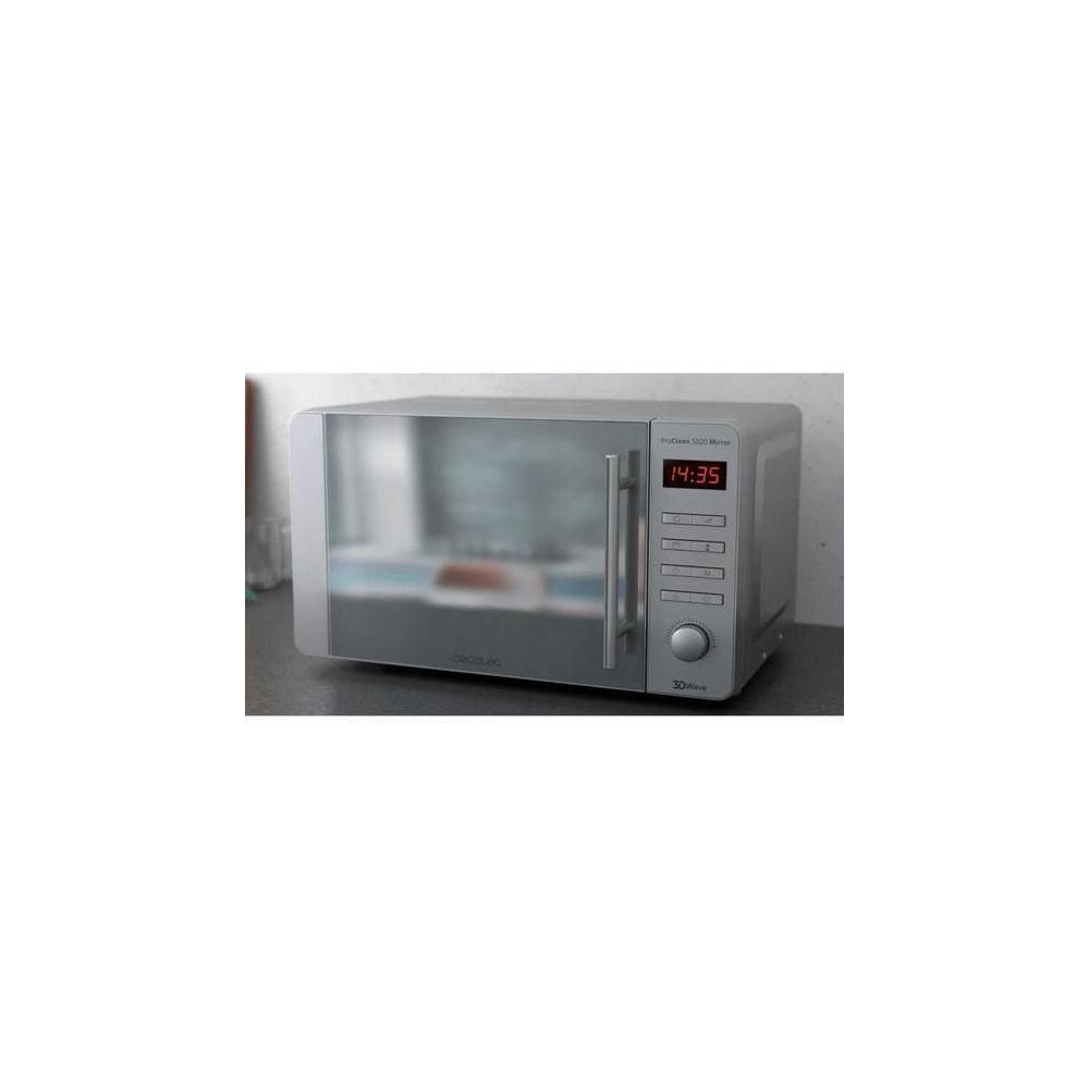 Cecotec Micro-ondes de 20L avec grill et 8 programmes en acier inoxydable 800W gris