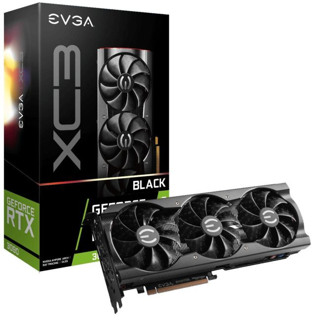 Evga - GeForce RTX 3090 XC3 BLACK GAMING - Triple Fan - 24Go - Carte Graphique NVIDIA