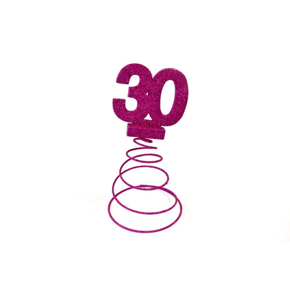 Visiodirect Lot de 10 Centres de table pour anniversaire 30 ans - fuschia pailletée