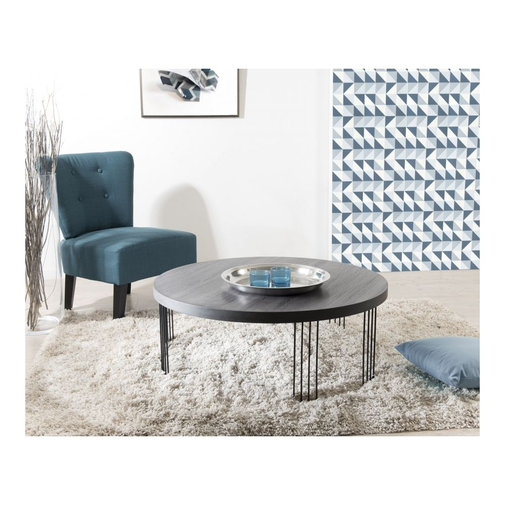 MACABANE Table basse ronde 95 x 95 cm pieds métal