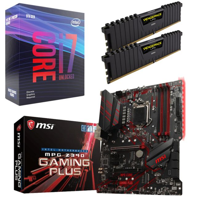 Intel - Core i7 9700K - 3,6/4,9 GHz + Vengeance LPX 16 Go (2 x 8 Go) - DDR4 3200 MHz Cas 16  + Intel Z390 MPG GAMING PLUS - ATX - Kit d'évolution Intel