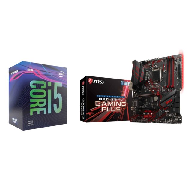 Intel - Core i5 9600K - 3,7/4,6 GHz + Intel Z390 MPG GAMING PLUS - ATX - Kit d'évolution Intel