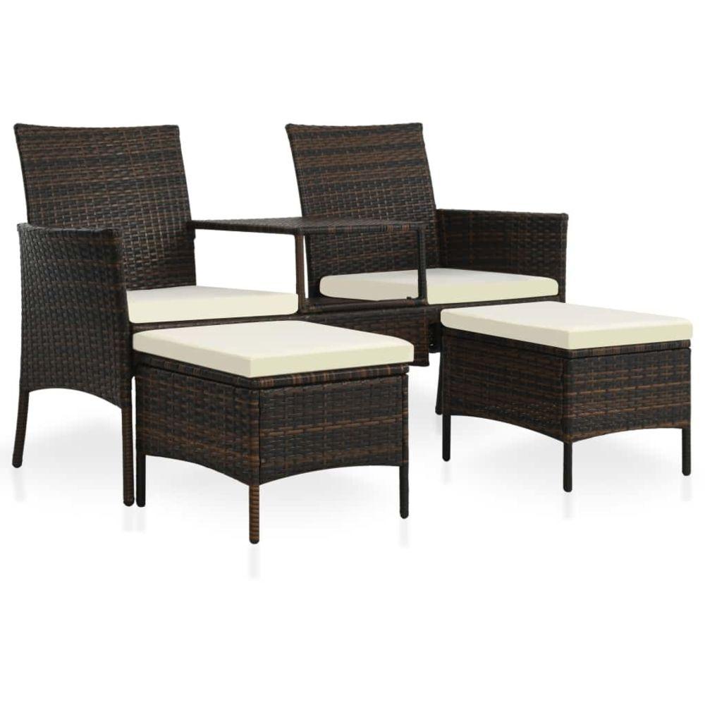 Vidaxl Jeu de canapés d'extérieur 7 pcs Résine tressée Marron et blanc - Meubles/Meubles de jardin/Ensembles de meubles d'extér