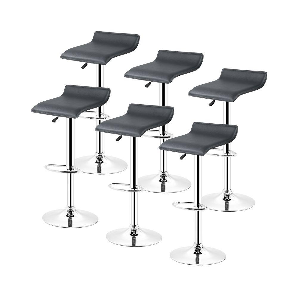 Ltppstore Lot de 6 Tabourets De Bar en PU style contemporain, rotation à 360 °, réglable en hauteur, NOIR