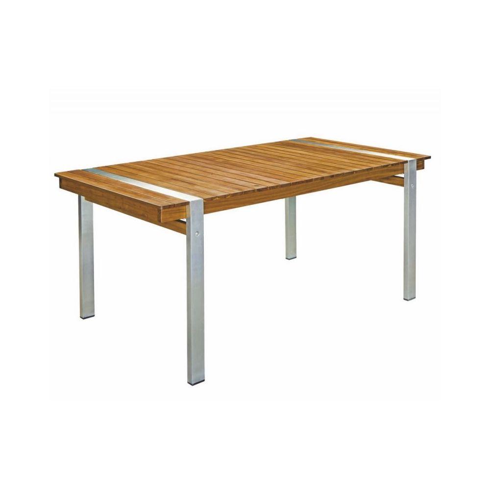 Ma Maison Mes Tendances Table de jardin 220cm en bois et acier NAVARRA - L 220 x l 100 x H 73.5