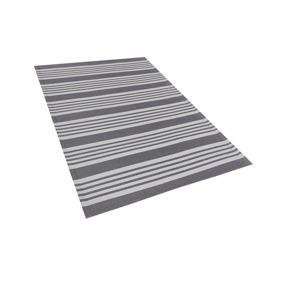 Beliani Beliani Tapis extérieur à rayures grises 120 x 180 cm DELHI - gris