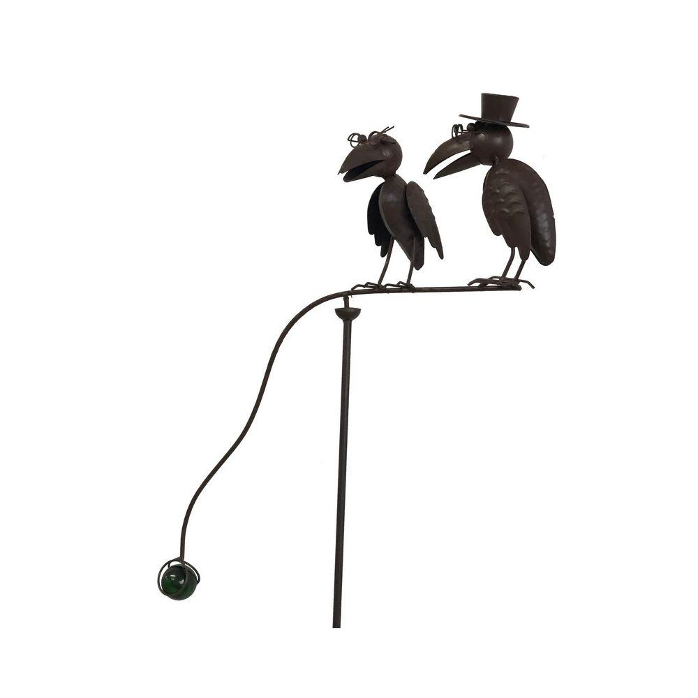 L'Originale Deco Mobile de Jardin Corbeaux Marron à Bascule Balancier Fer Métal 137 cm x 57 cm x 19 cm