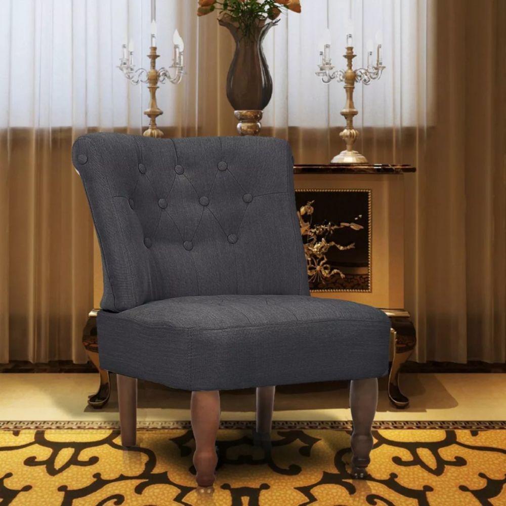 Vidaxl Chaise française Tissu Gris | Gris
