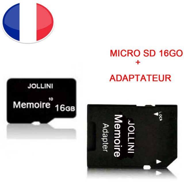 "Jollini - Pour Iphone OLED (5,8"""")  - Carte mémoire Micro SD 16 Go classe 10 + adaptateur SD - Jollini® Universel Protection - Carte SD"