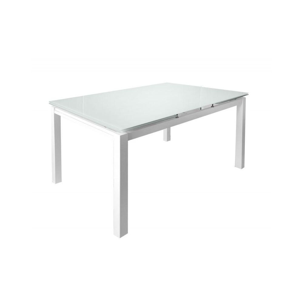 Meubletmoi Table extensible 120/200 cm compact plateau verre blanc - ANGELA