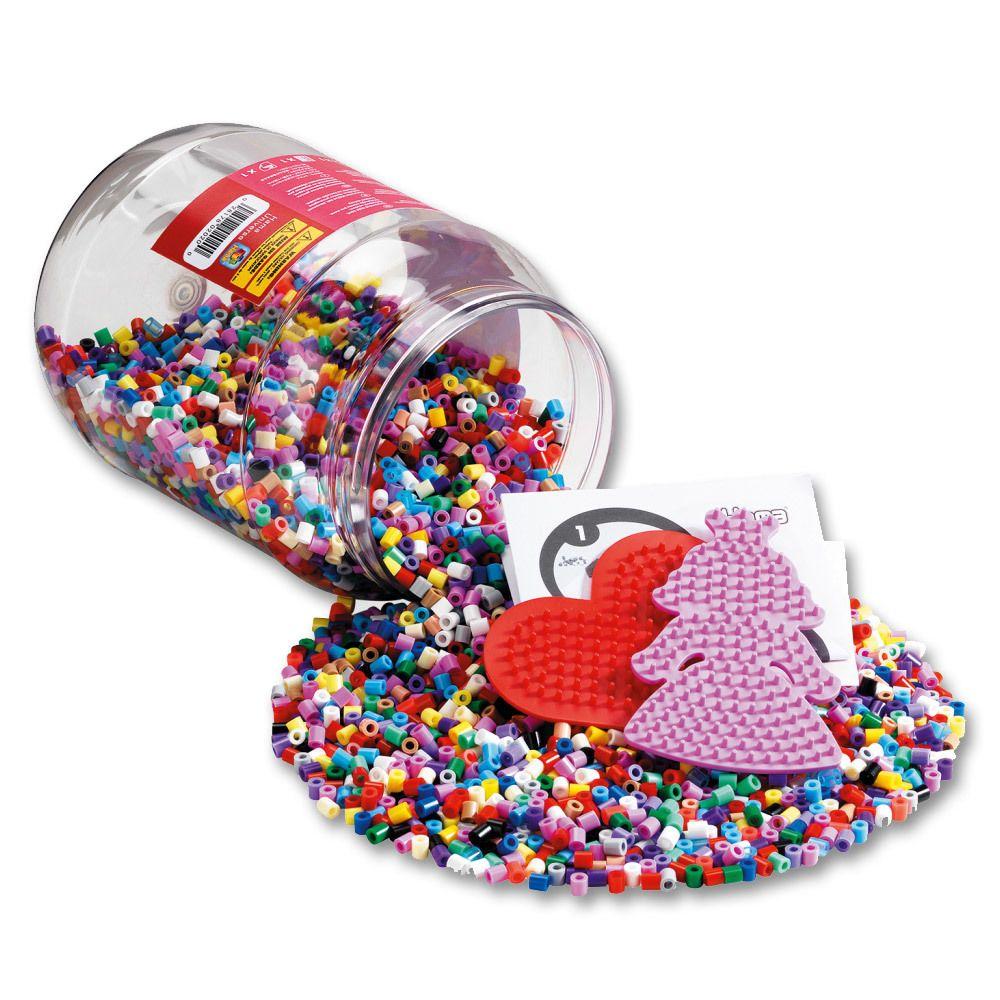Hama Baril de 7000 perles Hama Midi et deux petites plaques Princesses et Coeur