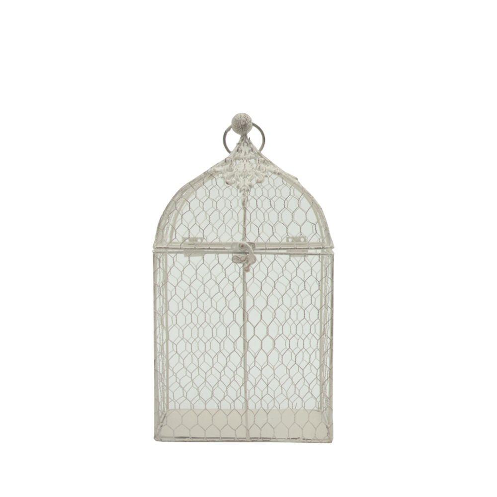 L'Originale Deco Style Ancien Cage à Oiseaux Décoration Grillagée Blanc 36 cm