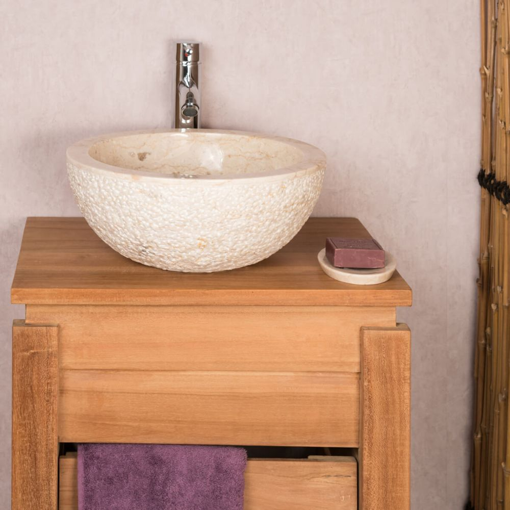 Wanda Collection Lave mains en pierre à poser STROMBOLI crème 35cm