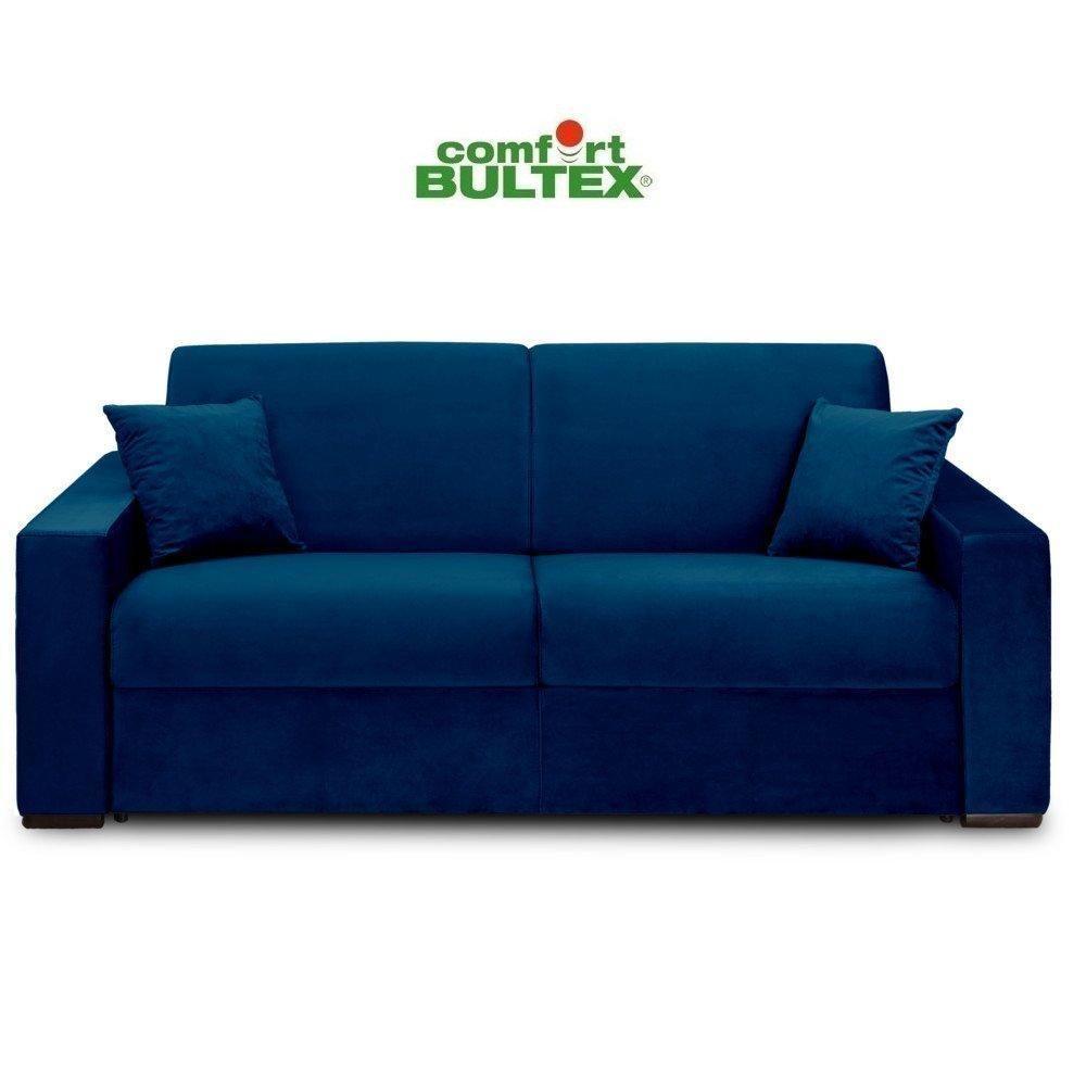 Inside 75 Canapé convertible rapido VOLOUTO matelas 160cm comfort BULTEX® 16cm sommier lattes RENATONISI velours bleu
