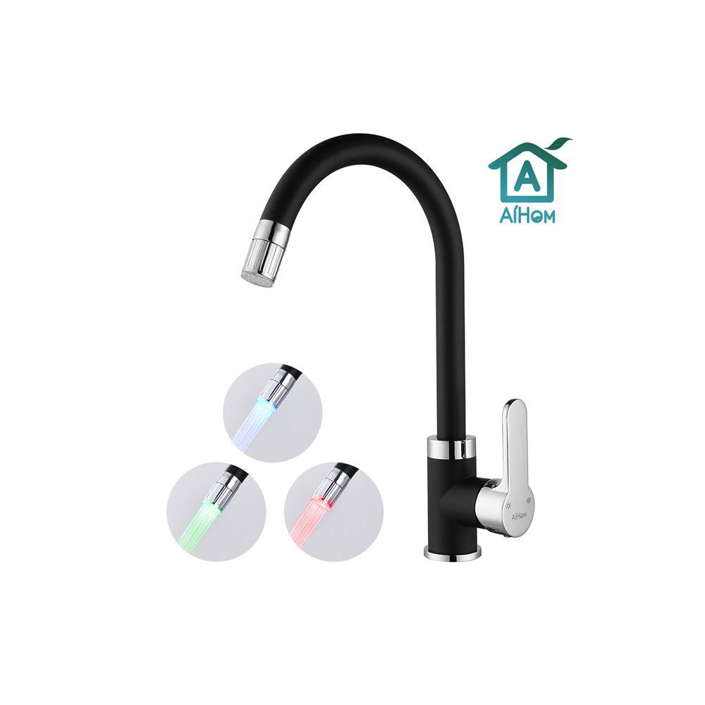 Aihom Mitigeur de Cuisine avec LED Intelligente 3 couleurs Robinet d'Evier Noir Rotation à 360°Mitigeur d'Evier Chrome
