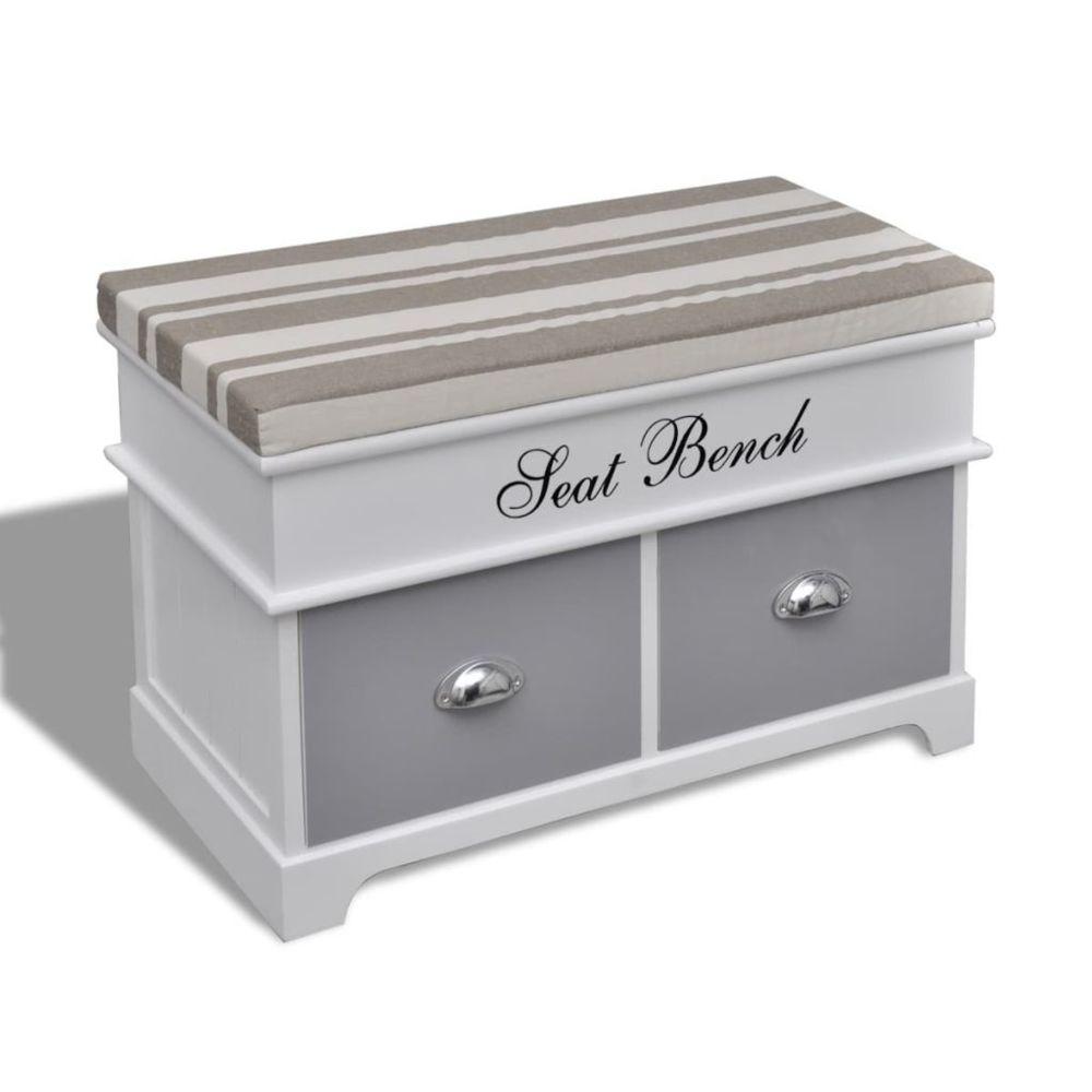 Vidaxl Banc de rangement avec 2 tiroirs, coussin inclus | Blanc