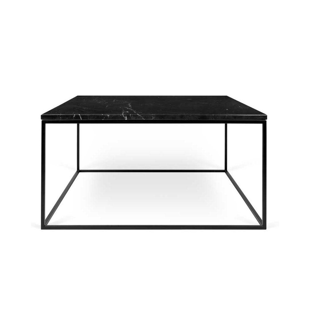 Tousmesmeubles Table basse carrée Métal/Marbre noir - BANGBE