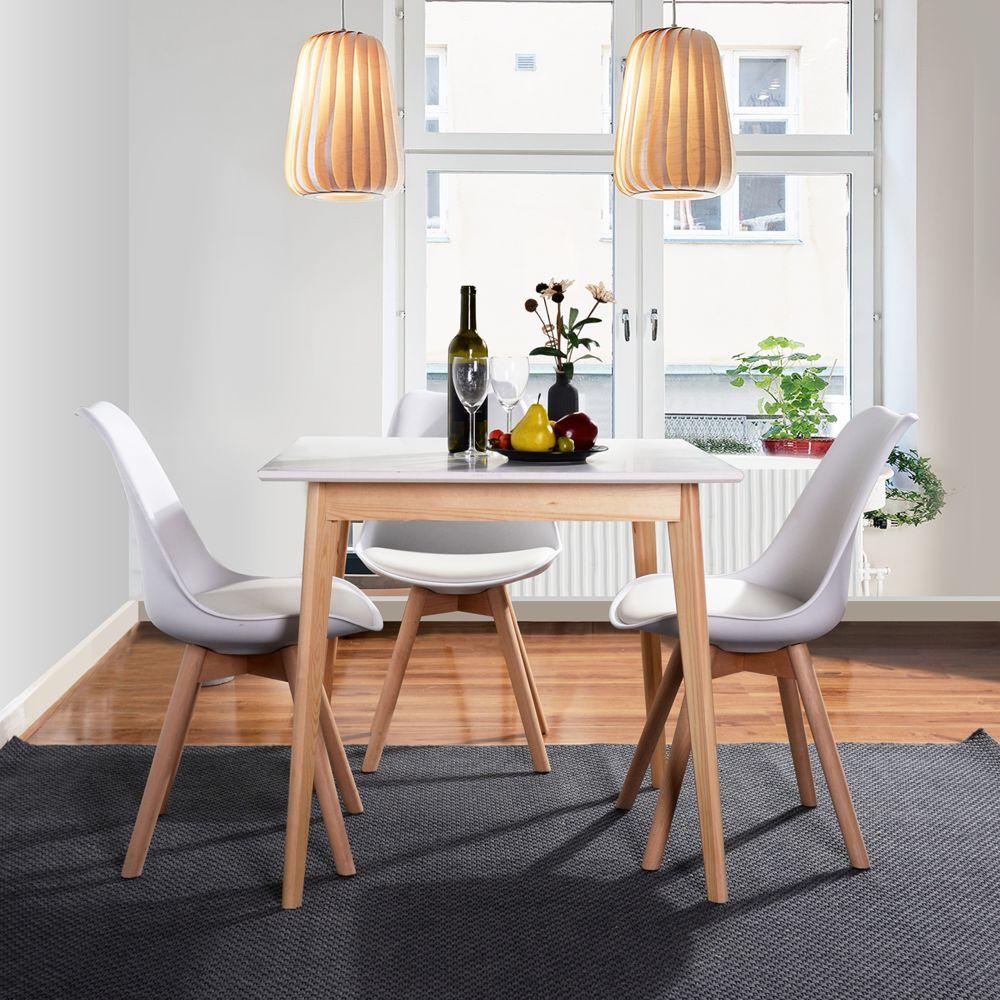 Easy Meuble Table de salle à manger blanche carré