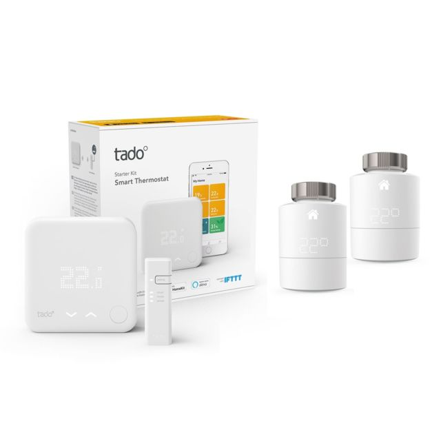 Tado - Kit de démarrage V3+ - Thermostat Intelligent + Bridge Internet + 2 têtes thermostatique Tado   - Energie connectée