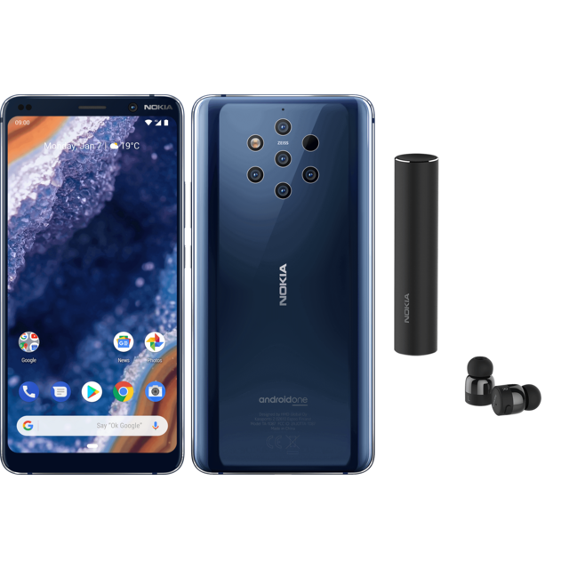 Smartphone Android Nokia 9 PureView - Bleu + Earbuds Nokia True Wireless