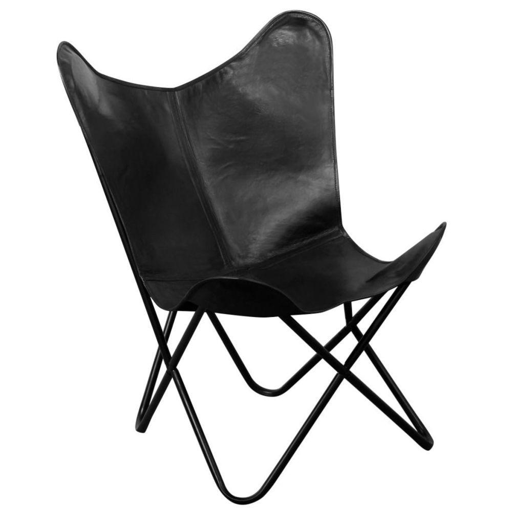 Vidaxl Chaise papillon Cuir véritable Noir   Noir