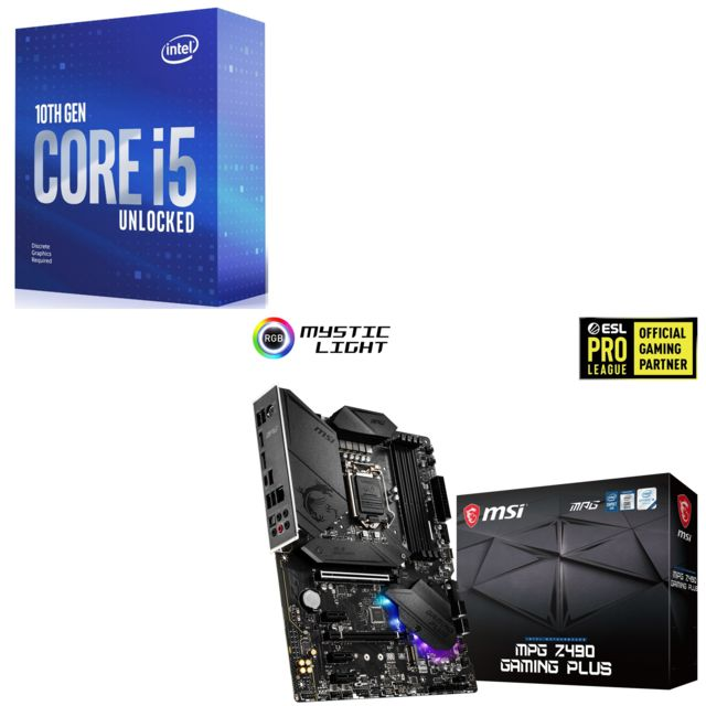 Intel - Core i5-10600KF - 4.1/4.8 GHz + INTEL MPG Z490 GAMING PLUS - ATX - Kit d'évolution
