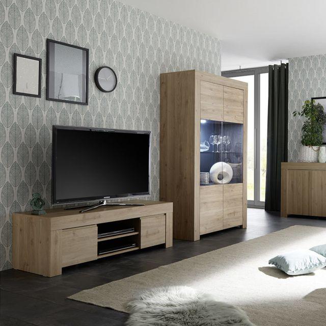 kasalinea meuble tele contemporain 140 cm couleur chene clair agathe