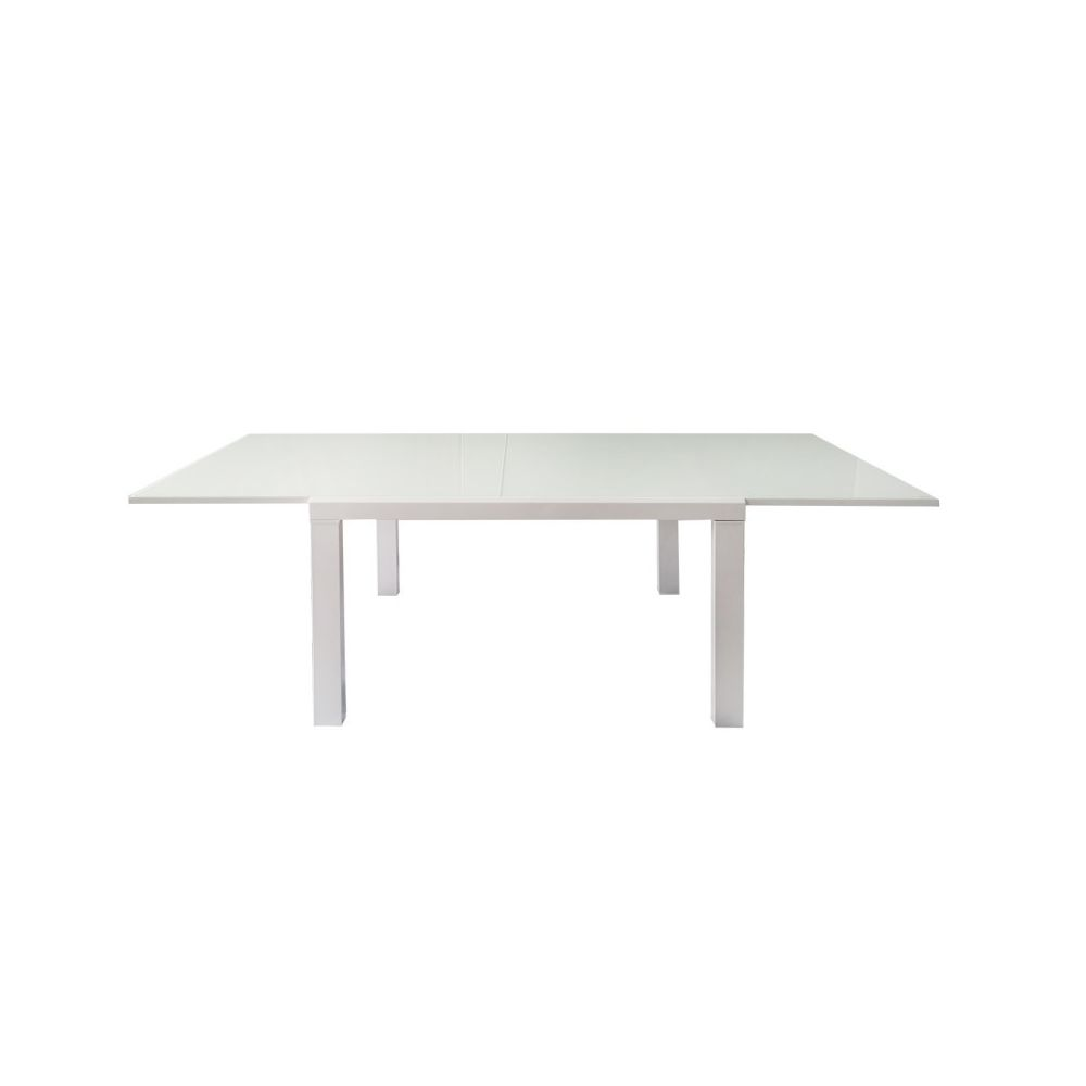 Meubletmoi Table extensible 120/223 cm plateau verre blanc - MILKA