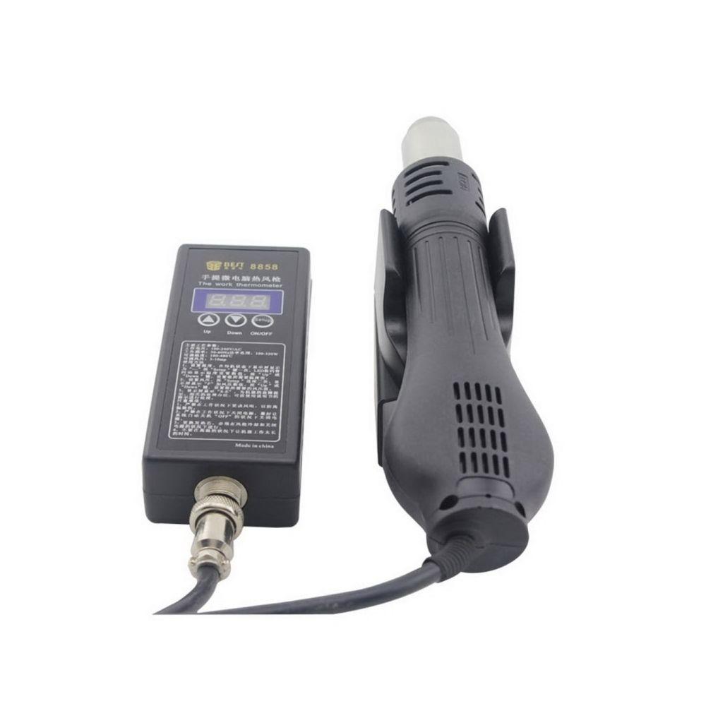 Wewoo Pistolet à chaleur noir AC 220 V 50 Hz 450 W LED Afficheur Réglable Température Sans Plomb à Air Chaud avec Vent Hélicoï