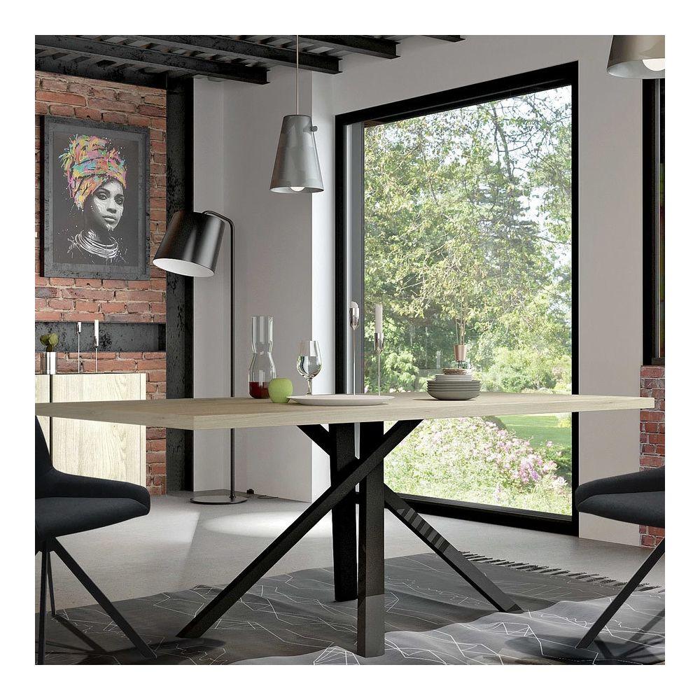 Nouvomeuble Table à manger industrielle couleur bois et métal noir KARA