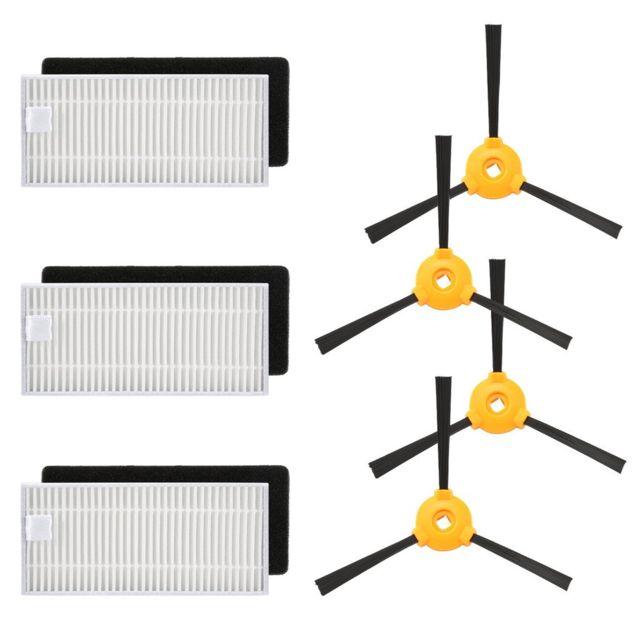 1 brosse rouleau. 4 brosses lat/érales 2 ensembles de filtres haute performance et filtres en mousse Bagotte Accessoires de rechange pour aspirateur robotique