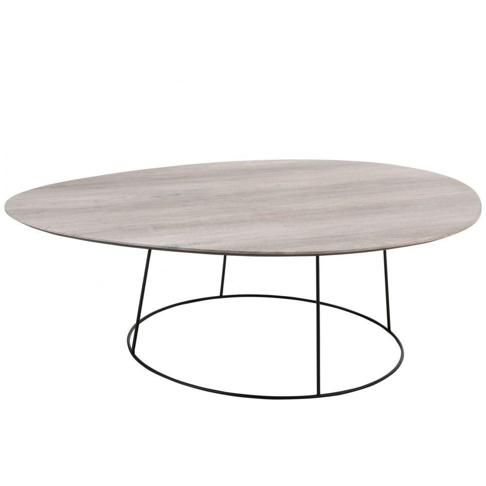 HELLIN Grande table basse ovale en bois et métal - PEARL