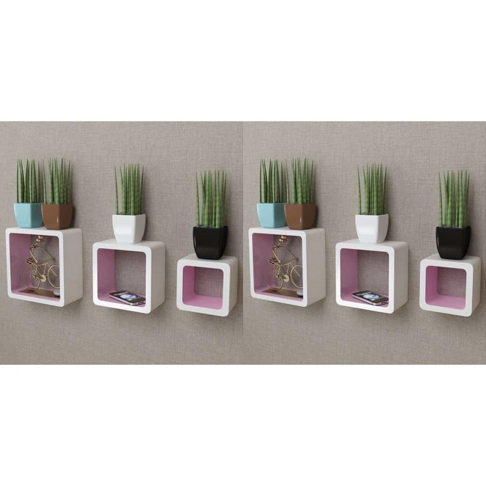 Uco UCO Étagères murales Forme de cube 6 pcs Blanc et rose