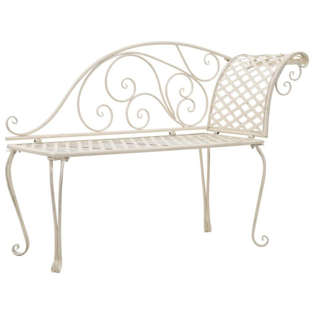 Vidaxl Chaise longue de jardin Métal Antique Blanc Motif de rouleau - Sièges d'extérieur - Bancs d'extérieur | Blanc | Blanc