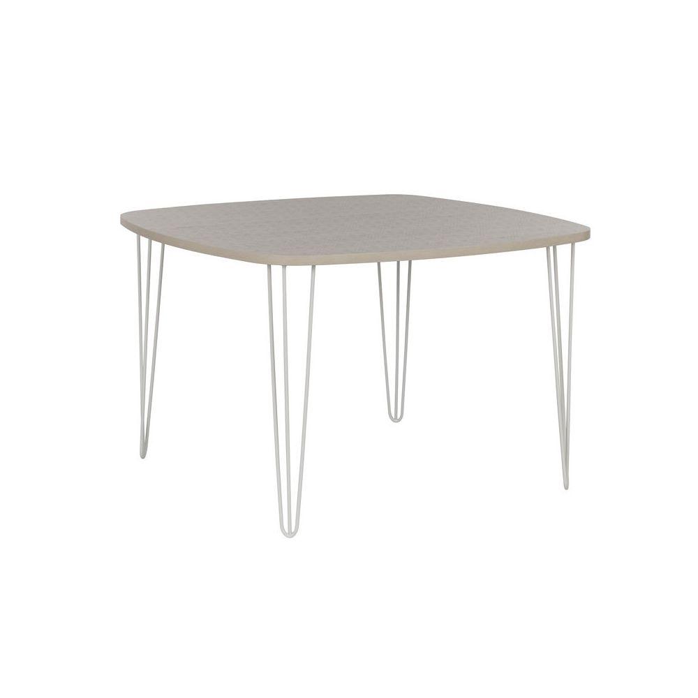 Tousmesmeubles Table de repas carrée Bois clair/Métal blanc - PRAGUE
