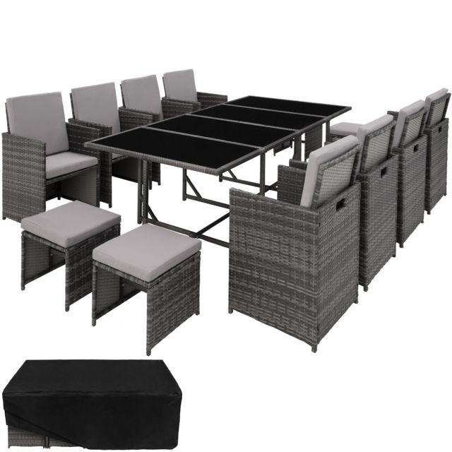 tectake salon de jardin palma ensemble de 8 chaises 4 tabourets 1 table en