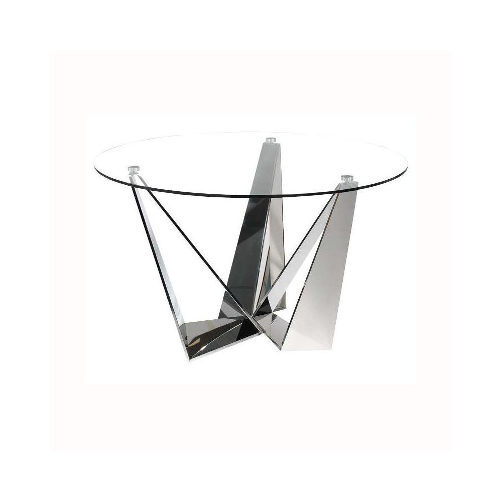 Nouvomeuble - Table ronde en verre et acier APOLLON
