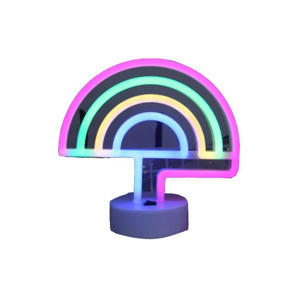 Yonis Lampe LED Décorative Arc En Ciel Veilleuse Néon LED Interrupteur Lumière Rose - YONIS