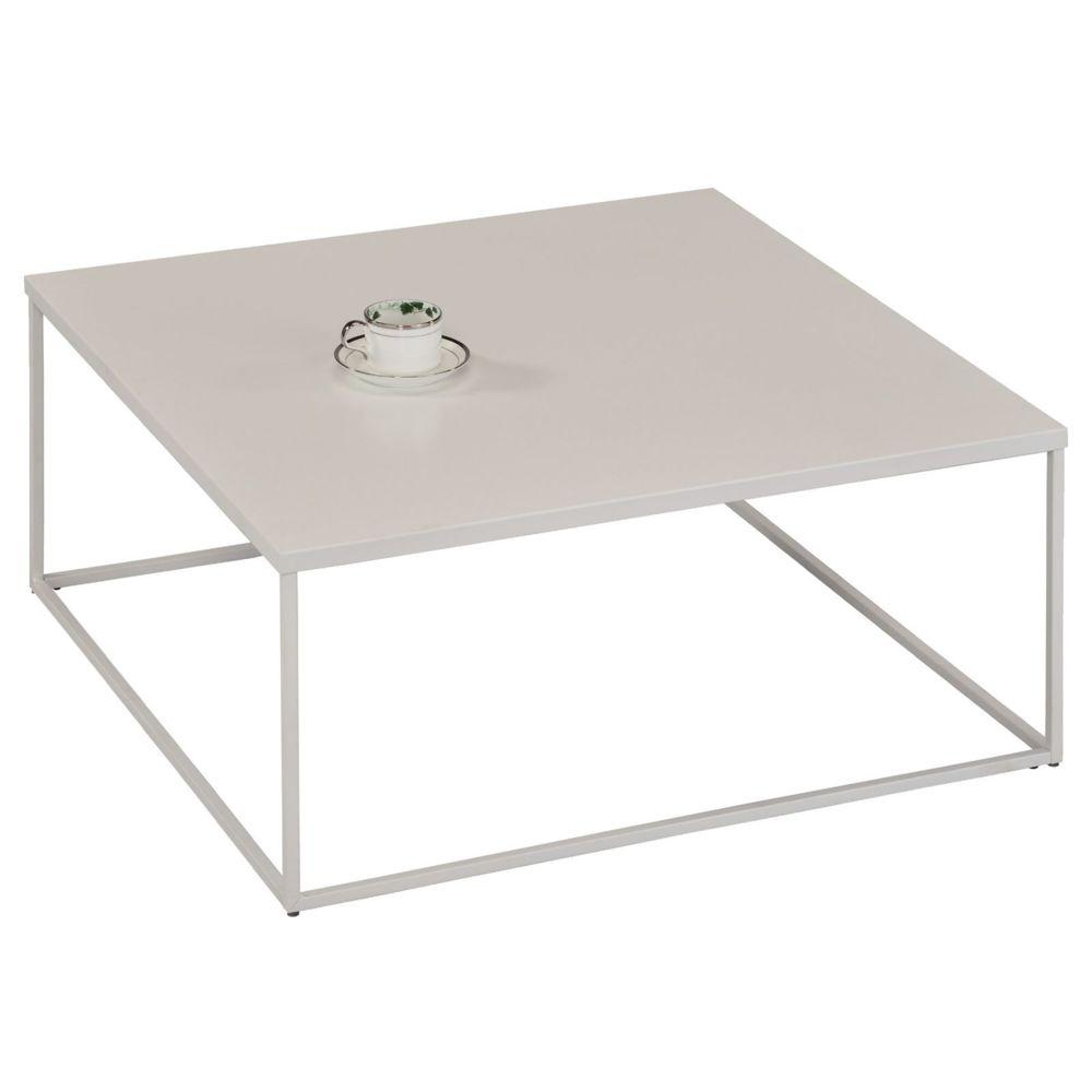 Idimex Table basse HILAR table de salon grande table d'appoint design retro vintage industriel, plateau carré en métal laqué bl