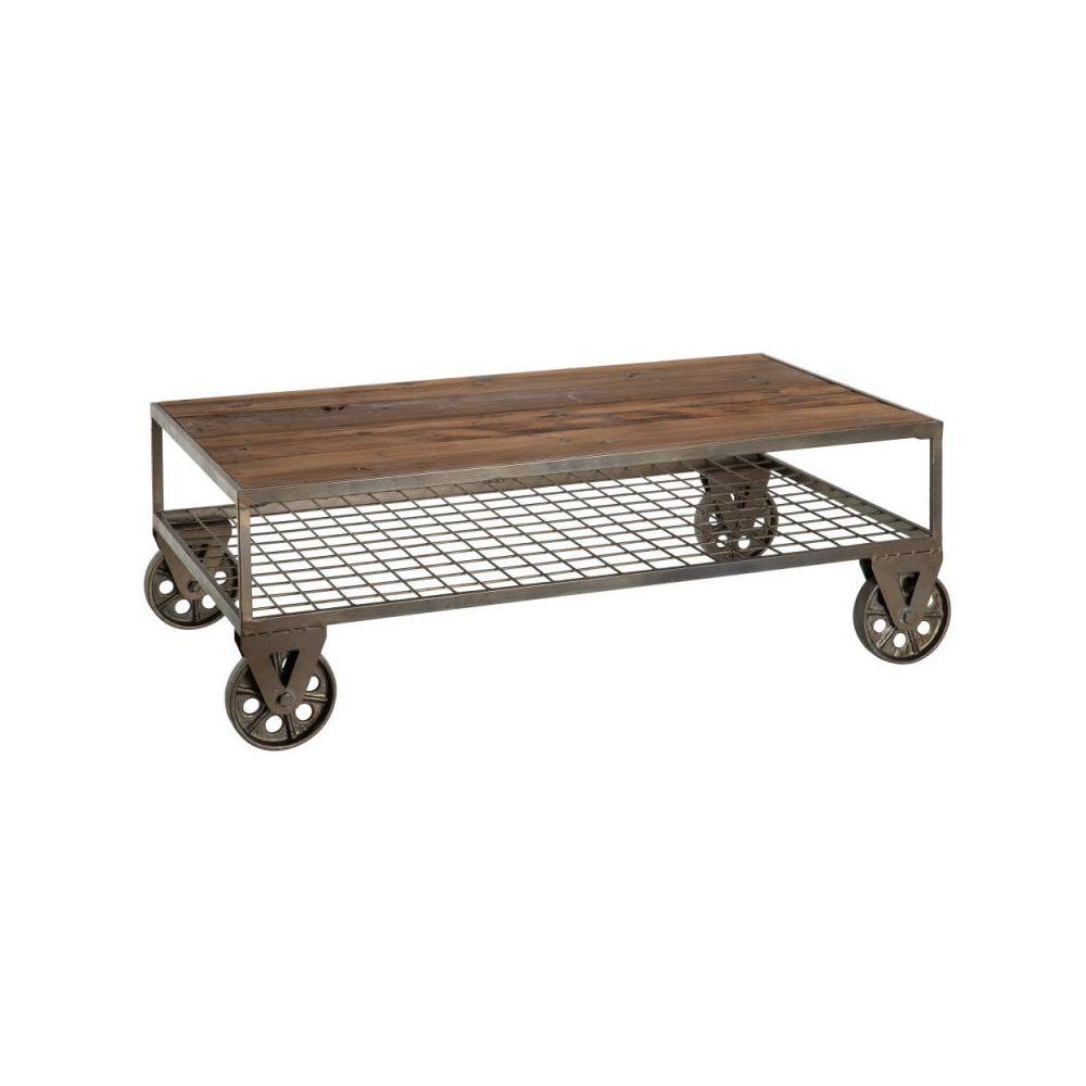 Tousmesmeubles Table basse rectangulaire sur roulettes Métal/Bois - FIBYA