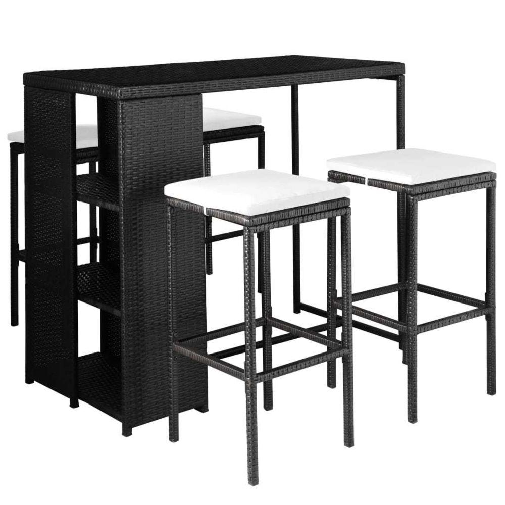 Vidaxl Jeu de bar d'extérieur 9 pcs Résine tressée Noir et blanc crème - Meubles/Meubles de jardin/Ensembles de meubles d'extér