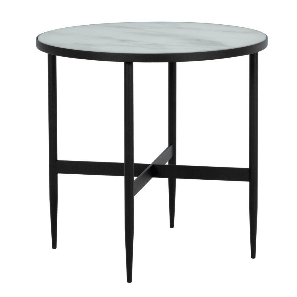 Rendez Vous Deco Table basse ronde Alaska en verre effet marbre et metal noir Ø 50 cm