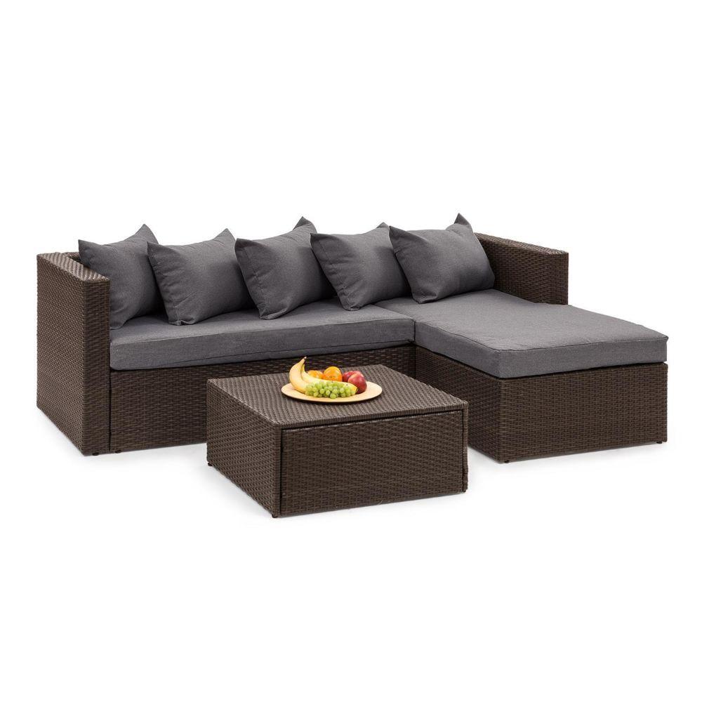 Blumfeldt Blumfeldt Theia Lounge Salon de jardin complet polyrotin marron & gris foncé