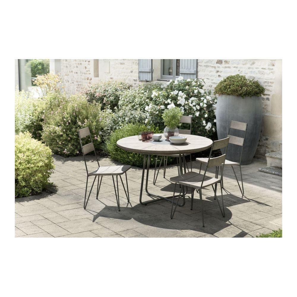 MACABANE Salon de jardin en teck teinté, comprenant 1 table à manger ronde et 2 lots de 2 chaises sandi bois et métal - MACABANE