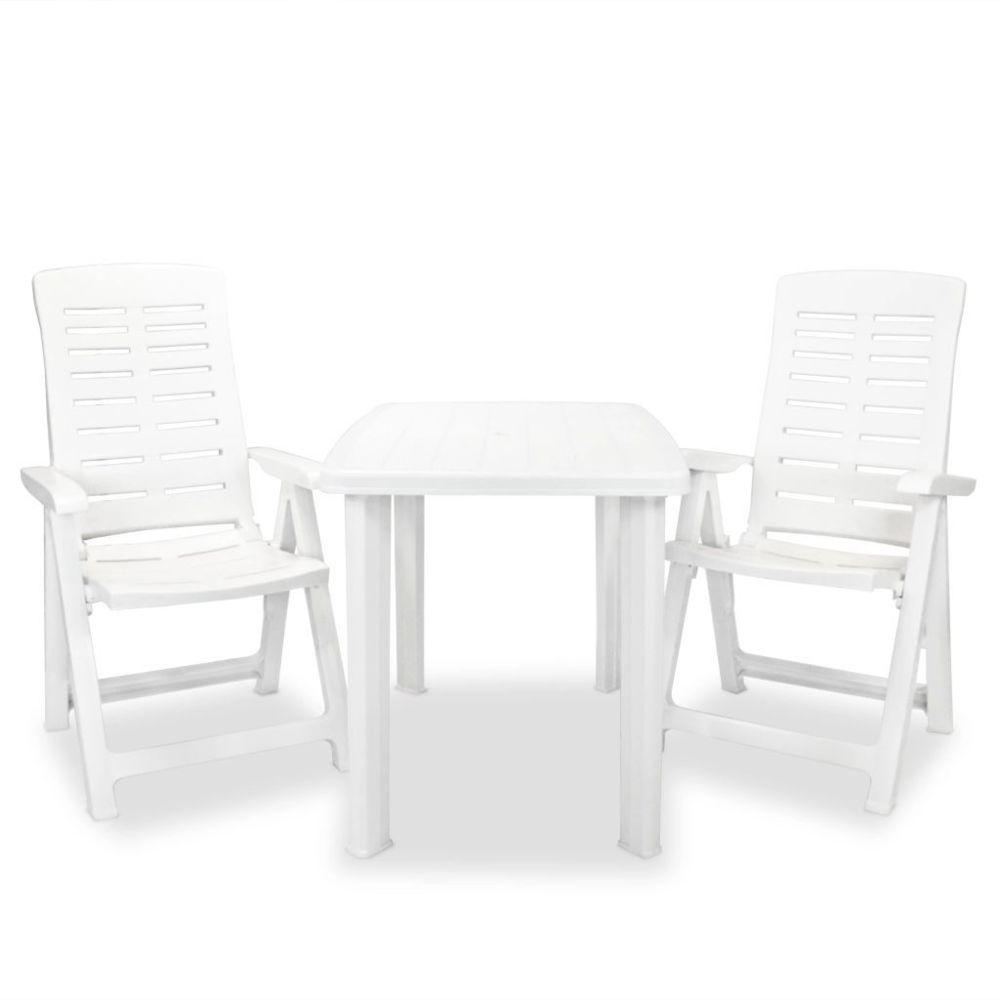 Vidaxl vidaXL Mobilier de bistro 3 pcs Plastique Blanc
